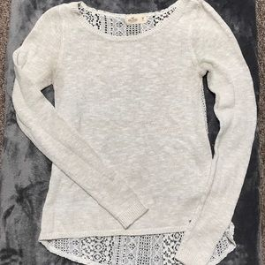 Hollister Off-White, Lace Backed Sweater